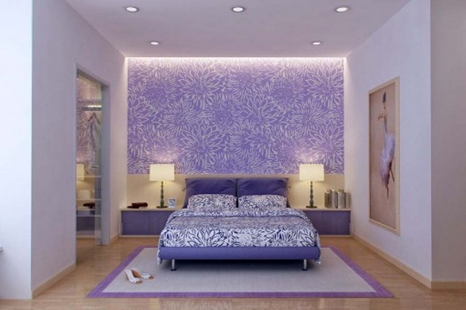 wooden-floor-with-elegant-purple-wallpaper-using-led-strip-for-beautiful-bedroom-design-with-modern-recessed-lighting-and-purple-bed-frame