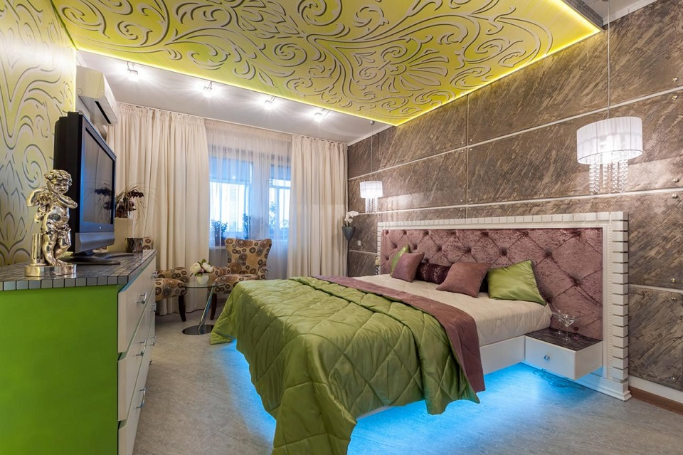 amazing-white-green-bedroom-ideas-with-blue-led-lighting-under-bed-including-green-purple-duvet-cover-also-pendant-lamps-beside-headboard-and-tv-on-vanity-also-chair-beside-curtain