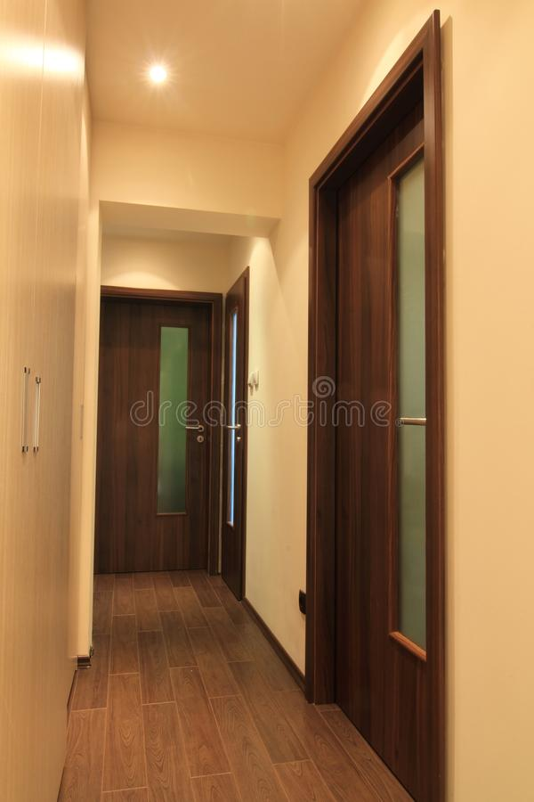 Apartment hall. Small modern apartment hall with doors stock image
