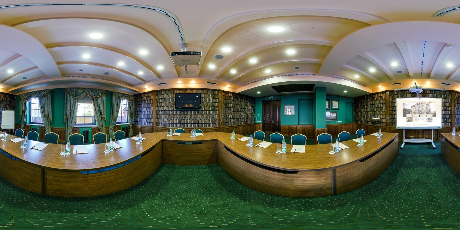 BREST, BELARUS - APRIL 27, 2014: Modern loft apartment interior of conference hall, full 360 panorama in equirectangular. Equidistant spherical projection in royalty free stock photography