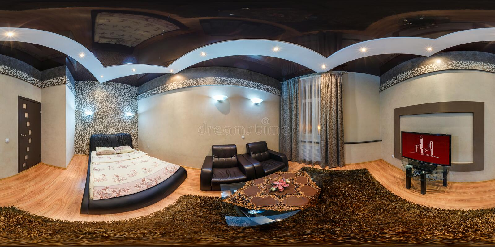 GRODNO , BELARUS - JULY 26, 2013: Modern loft apartment interior, bedroom, hall, full 360 degree panorama in equirectangular. Spherical equidistant projection royalty free stock photography