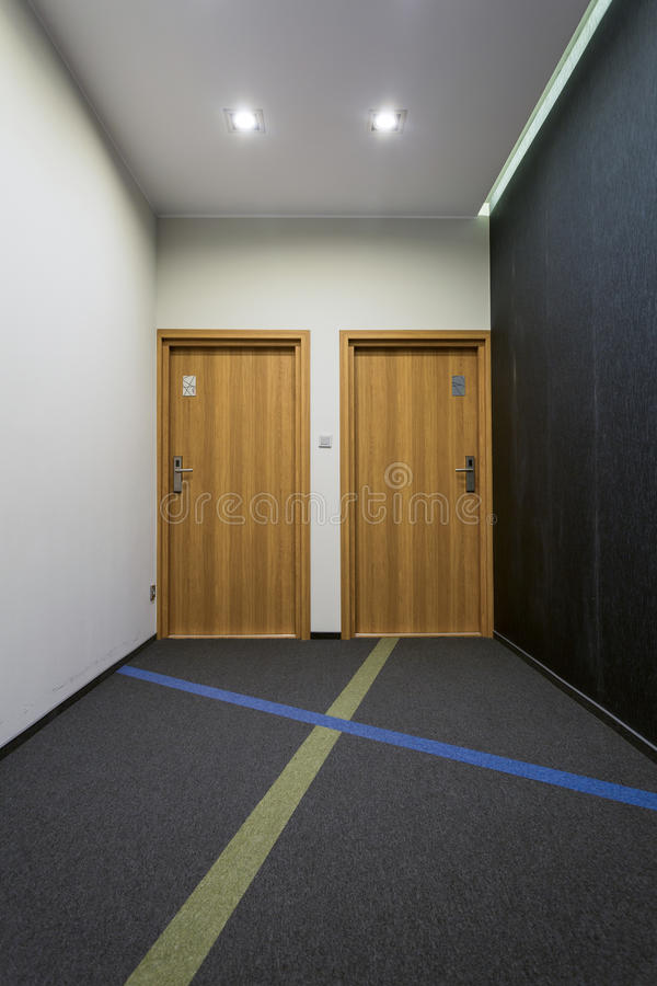 Hall in modern apartment building. View of hall in modern apartment building royalty free stock images