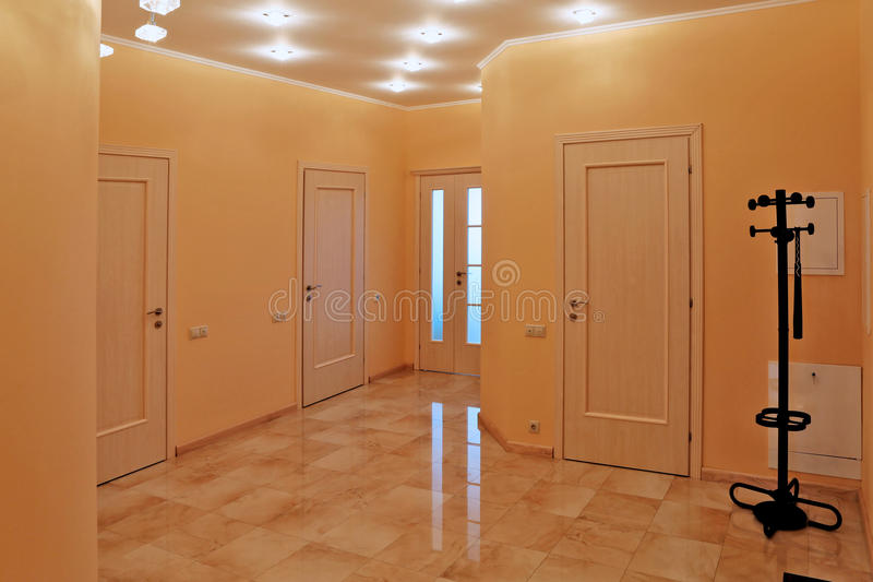 Interior design entrance hall in a studio apartment. In a modern minimalist style royalty free stock photo