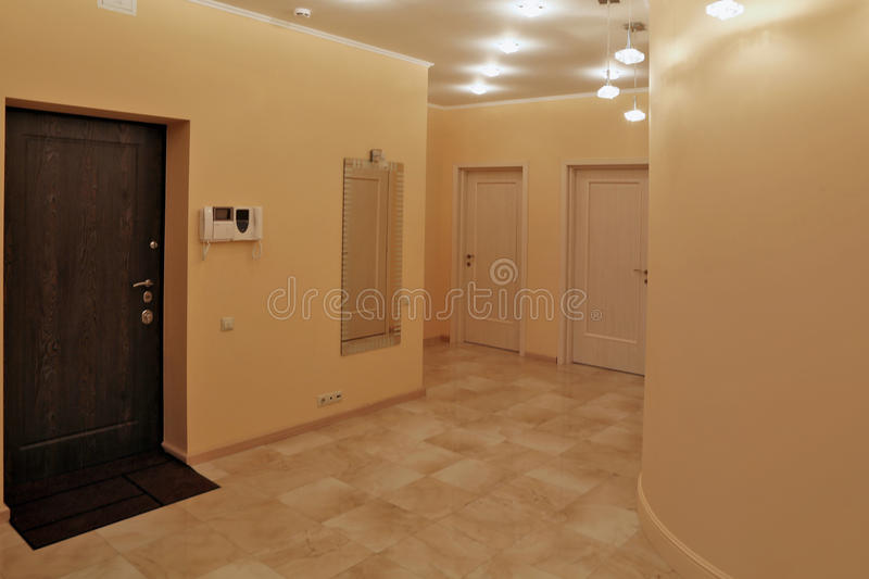 Interior design entrance hall in a studio apartment. In a modern minimalist style stock images