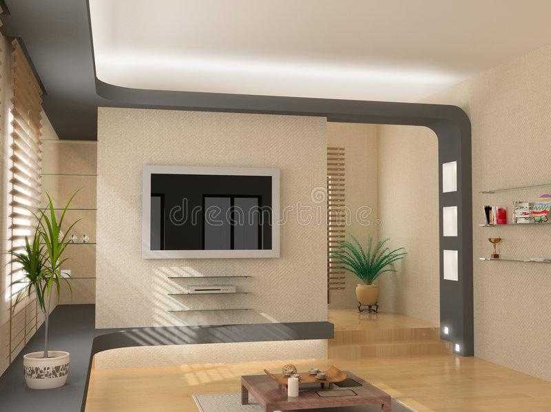 Modern interior. Design (privat apartment 3d rendering royalty free stock images