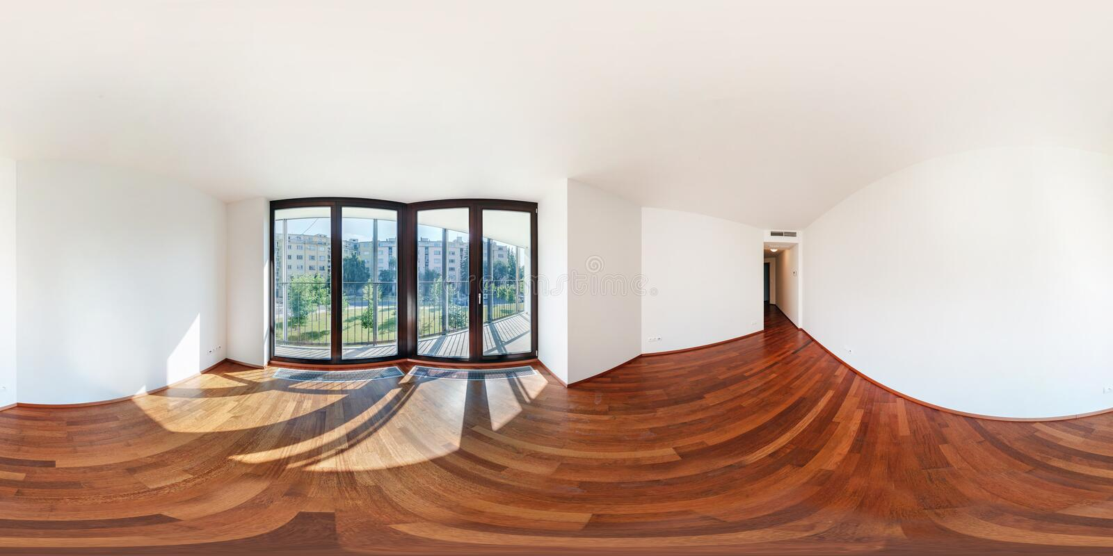 Panorama 360 view in modern white empty loft apartment interior of living room hall, full  seamless 360 degrees angle view. Panorama in equirectangular royalty free stock photos