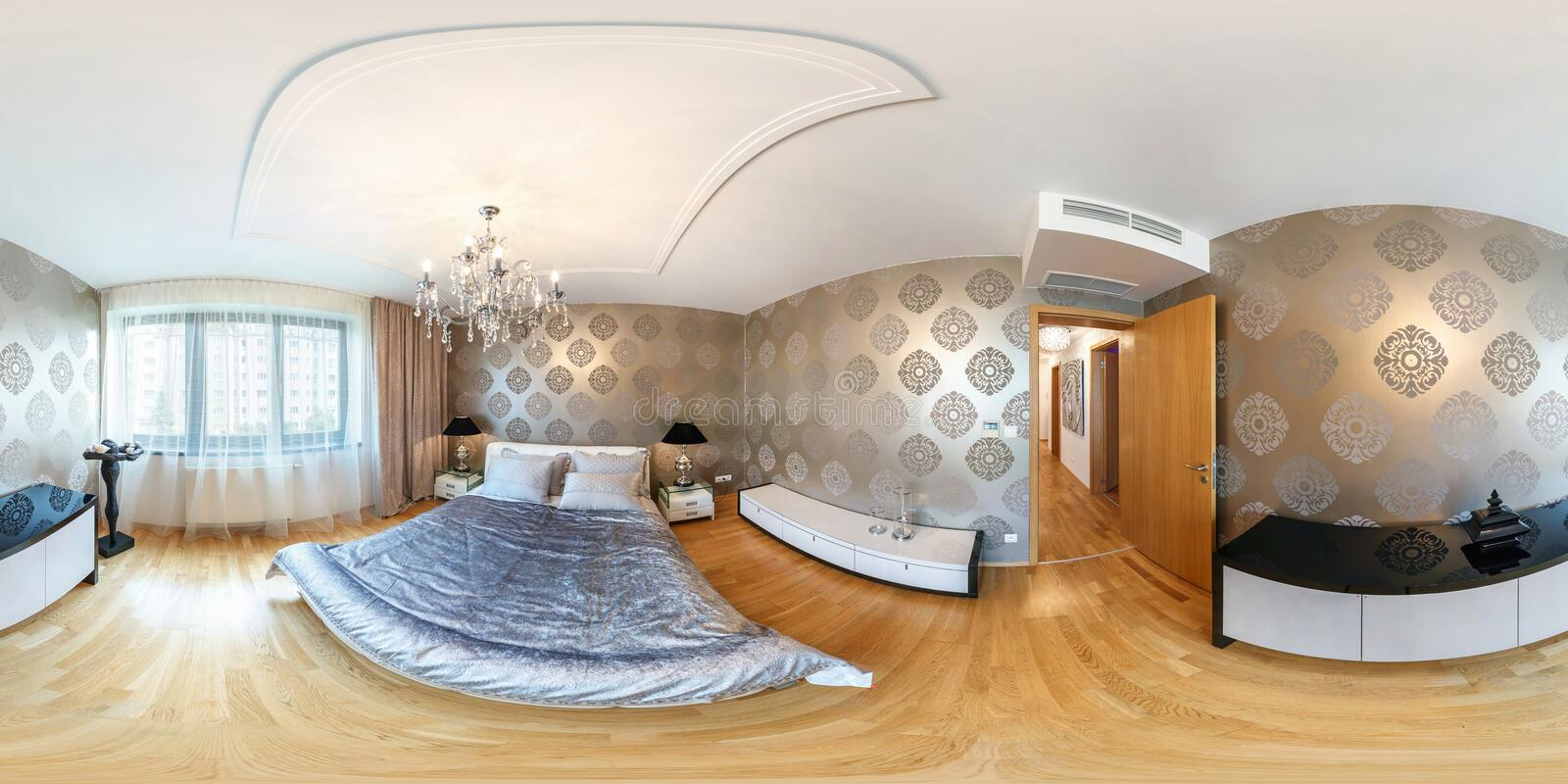 PRAHA , CZECH REPUBLIC - JULY 26, 2013: Modern loft apartment interior, bedroom, hall, full 360 degree panorama in equirectangular. Spherical equidistant royalty free stock images