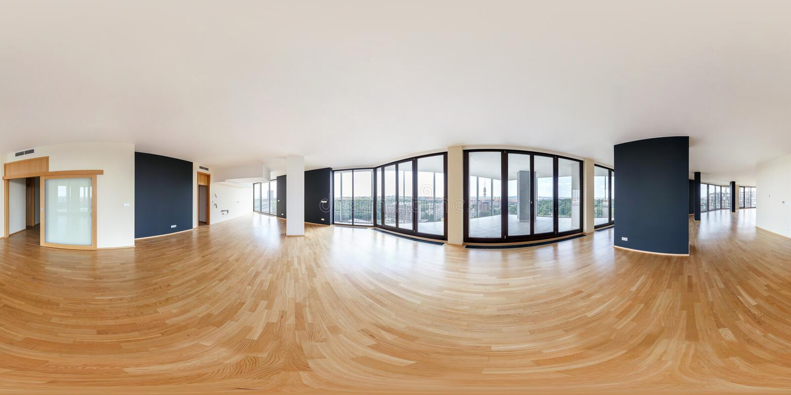 PRAHA, Czech Republic - JULY 21, 2014: Modern white empty loft apartment interior, living room, hall, panorama, full 360 panorama. In equirectangular spherical stock photography