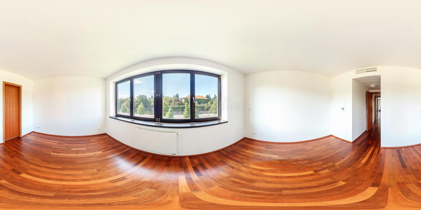 PRAHA, Czech Republic - JULY 21, 2014: Panorama of modern white empty loft apartment interior living hall room, full 360 seamless. Panorama in equirectangular royalty free stock photos