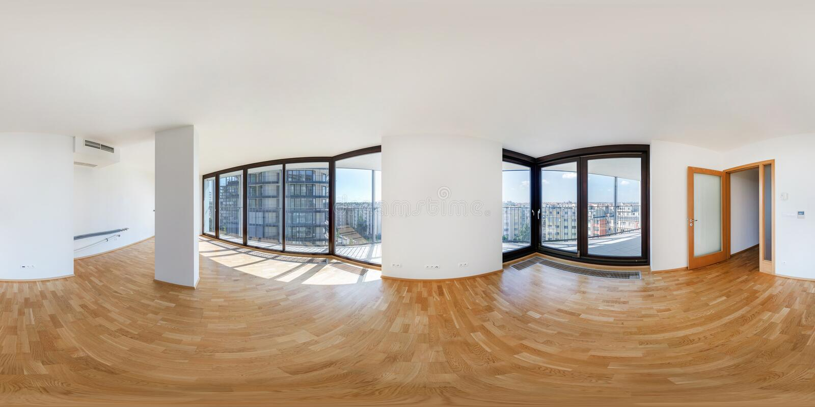 PRAHA, Czech Republic - JULY 21, 2014: Panorama of modern white empty loft apartment interior living hall room, full 360 seamless. Panorama in equirectangular stock image