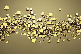 3D фотообои с золотыми кубиками. (Номер по каталогу: 25002)