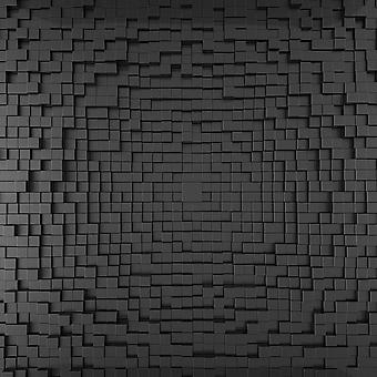 3D фотообои из черных кубиков. (Номер по каталогу: 25025)