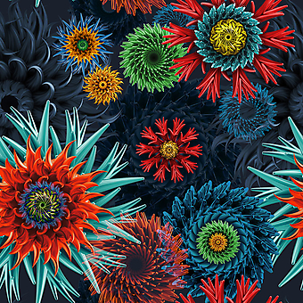 Бесшовная текстура с абстрактными 3D цветами. (Номер по каталогу: 25026)