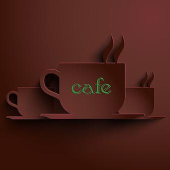Абстрактный кофейный фон с эффектом 3D. (Номер по каталогу: 25032)