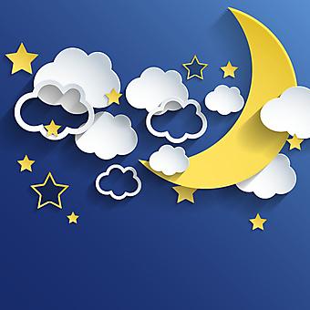 Ночной 3D фон с облаками и луной. (Номер по каталогу: 25034)