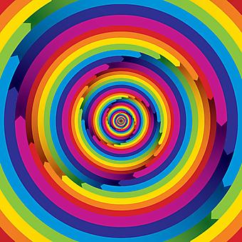 Бесконечные цветные стрелки закручены в спираль. (Номер по каталогу: 25037)