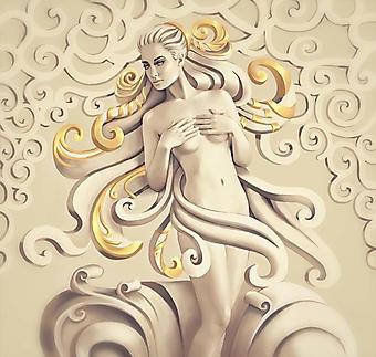 Обнаженная девушка с золотыми волосами в 3D (Каталог номер: 25080)