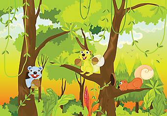Белки в джунглях. (Код изображения: 10016)