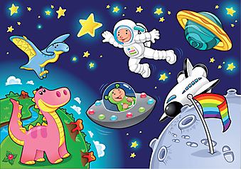 Мальчик в космосе. (Код изображения: 10018)