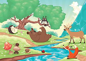 Животные в лесу. (Код изображения: 10027)
