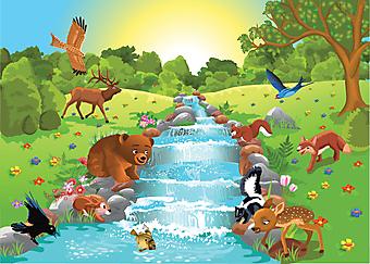 Животные на водопое. (Код изображения: 10028)