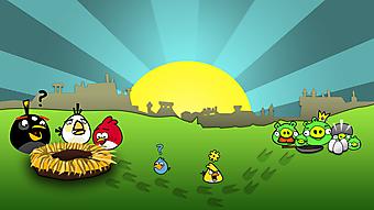 Персонажи игры Andry Birds на фоне солнца. (Код изображения: 10132)