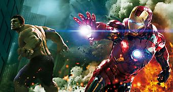 Мстители: Халк и Железный человек во время битвы (Код фотообоев: 10136)
