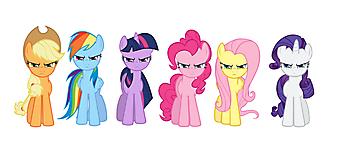 Пинки Пай, Рарити, Радуга Дэш, Сумеречная Искорка, Эпплджек и Флаттершай. (Код изображения: 10169)