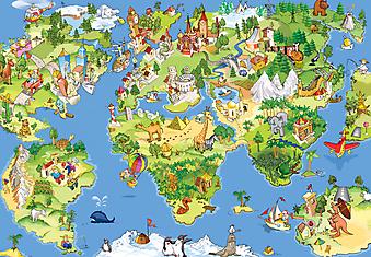 Карта мира для детей. (Код изображения: 10198)