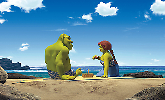 Шрек и Фиона на пляже. (Код изображения: 10237)