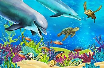 Коралловый риф с дельфинами (Каталог номер: 10264)