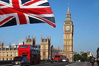 Британского флаг на фоне Биг Бена. Лондон (Код изображения: 16048)