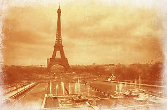 Старинное фото с Эйфелевой башней. Париж (Код изображения: 16073)