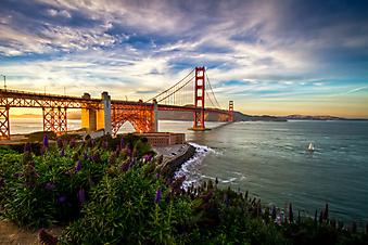 Закат над мостом Золотые ворота. Сан-Франциско (Код изображения: 16075)