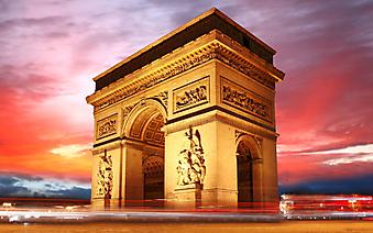 Закат над Триумфальной аркой. Париж (Код изображения: 16080)