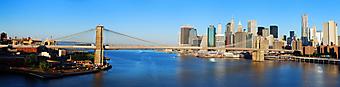 Панорамный вид на Бруклинский мост. Нью-Йорк (Код изображения: 16085)