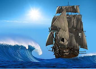 Древний корабль в море. (Код изображения: 21028)