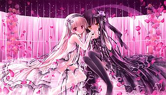 Девочки в белом и черном платьях в лепестках роз . (Код изображения: 23004)
