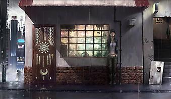 Девочка, скучающая под крышей во время дождя. (Код изображения: 23006)