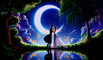 Пара перед поцелуем на фоне месяца (Код изображения: 23007)