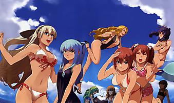 Развлекающиеся на пляже персонажи анимэ. (Код изображения: 23009)