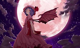 Девочка с крыльями на фоне полной розовой луны. (Код изображения: 23010)