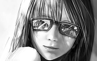 Девушка в очках с бликами . (Код изображения: 23018)