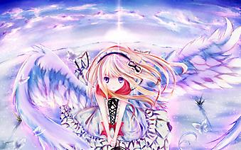 Девочка с крыльями среди снежной пустыни. (Код изображения: 23019)
