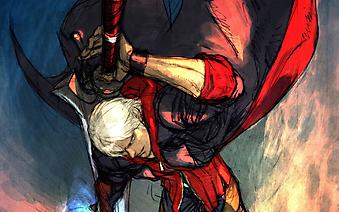 Самурай с катаной в красном плаще. (Код изображения: 23020)