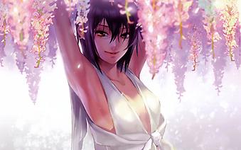 Девушка в белом платье окруженная цветами. (Код изображения: 23022)
