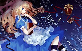 Задумчивая девушка в синем платье с книгой . (Код изображения: 23027)