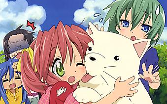 Девочка обнимает белого кота . (Код изображения: 23028)