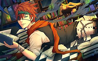 Лави с книгой в руке. (Код изображения: 23032)