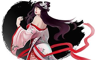 Девушка в красивом японском платье. (Код изображения: 23036)